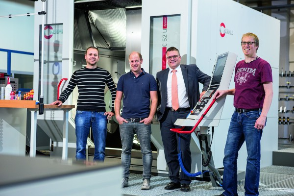 <p>Gerhard Zech, machinery construction manger, Markus Gapp, milling group manager, Florian König, sales manager for Austria/South Tyrol at Maschinenfabrik Berthold Hermle AG, Andreas Bolter, tool and plant construction manager at Hirschmann Automotive GmbH</p>