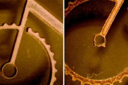 <p>Caption: Fine abrasive waterjet vs micro laser</p>