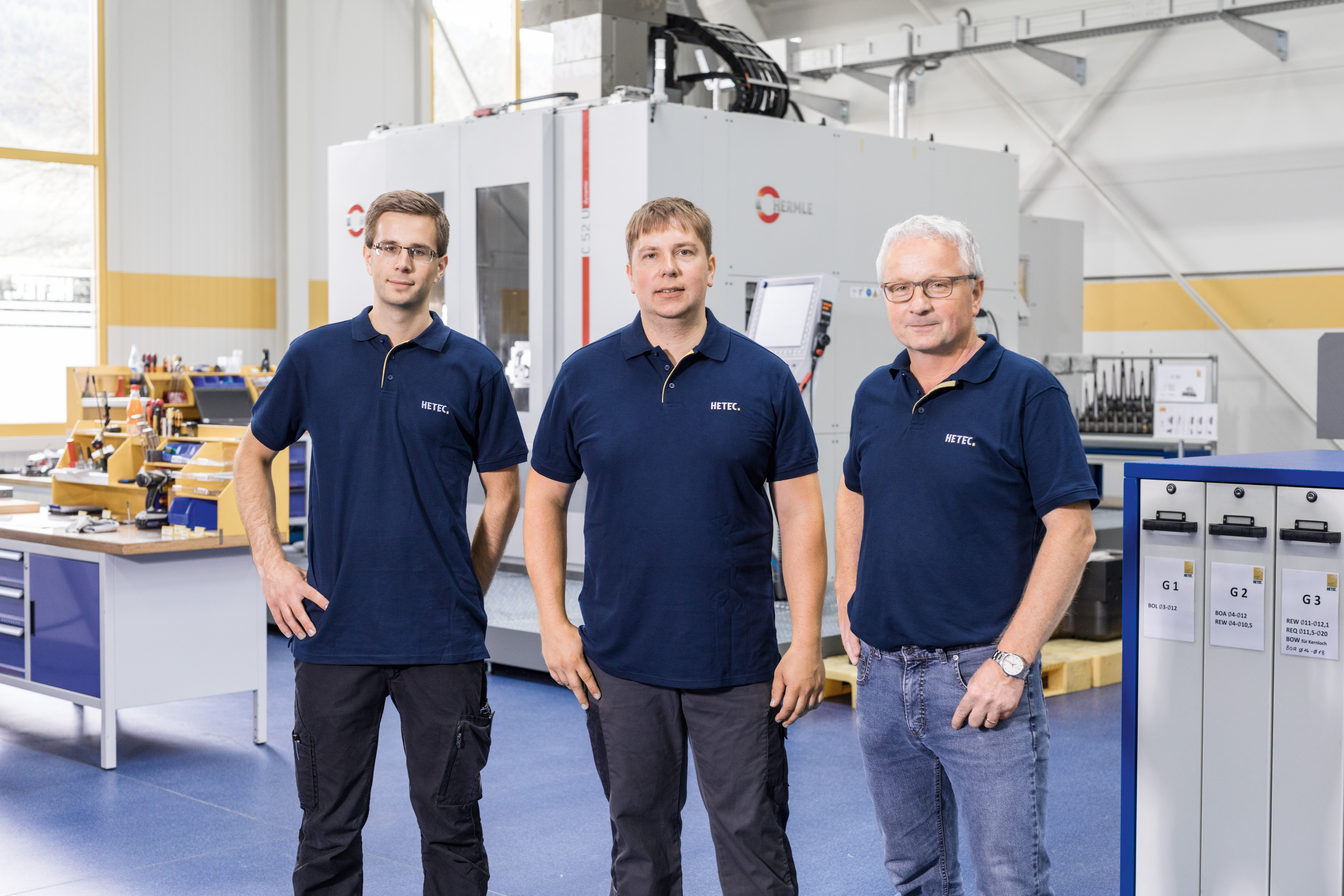 from right to left side Friedhelm Herhaus, Managing Director, Christoph Schneider, Group Leader Milling Technology, and Tom Herhaus, Applications Engineering/Operator, all from machining service provider HETEC GmbH